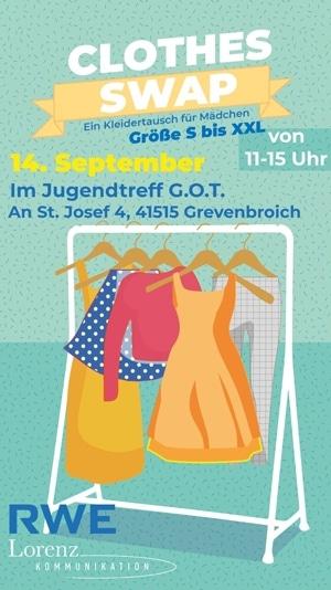 Clothes SWAP Kleidertausch für Mädchen am 14. September 2019 im Jungendtreff G.O.T. in Grevenbroich.