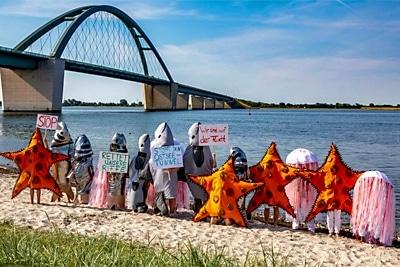 Protestaktion Meerestiere auf der Flucht.