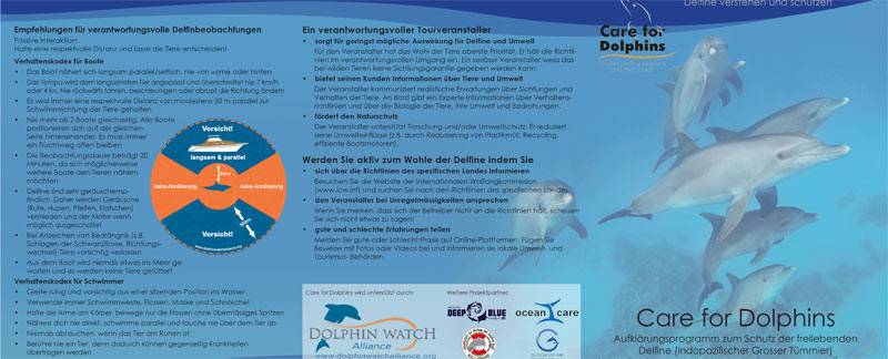 Flyer Care for Dolphins.