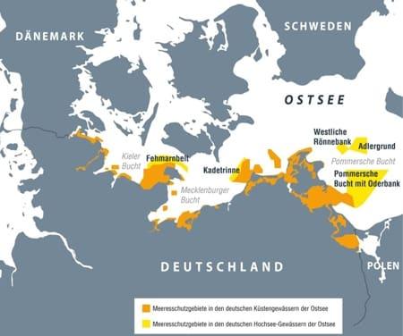 Karte deutsche Meeresschutzgebiete in der Ostsee.