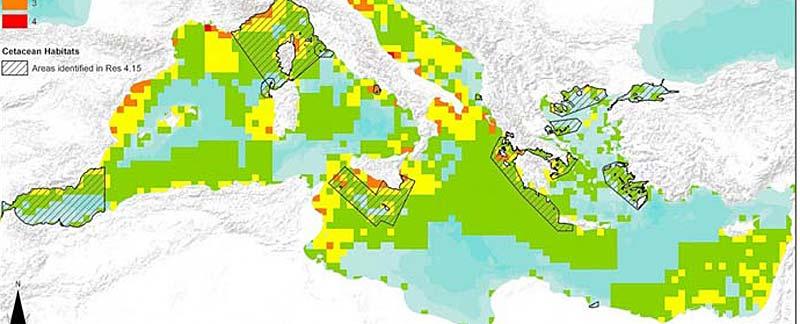 Lärm-Hotspots des Mittelmeers unter Berücksichtigung für Wale und Delfine ausgewiesener oder empfohlener Schutzzonen. Quelle: ACCOBAMS.