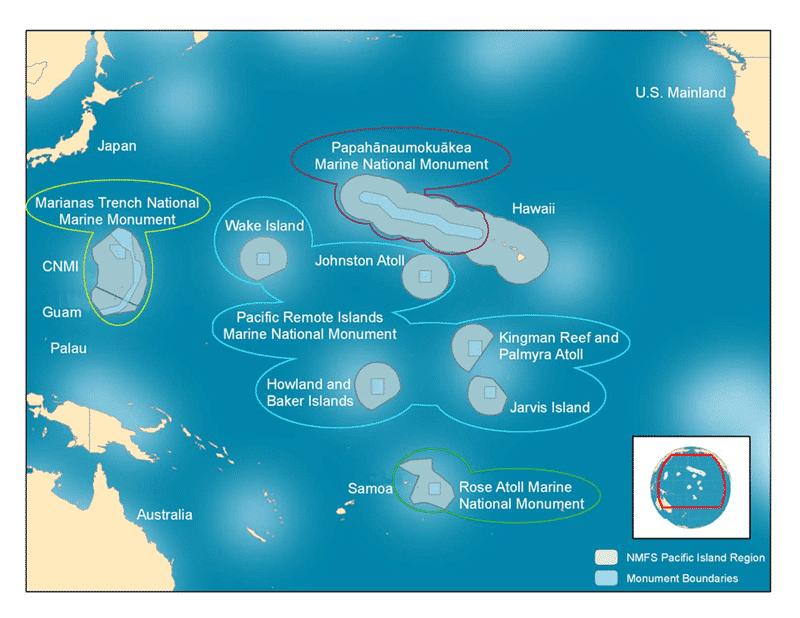 Karte Pacific Remote Islands Marine National Monument, eine der weltweit größten Meeresflächen unter Schutz.