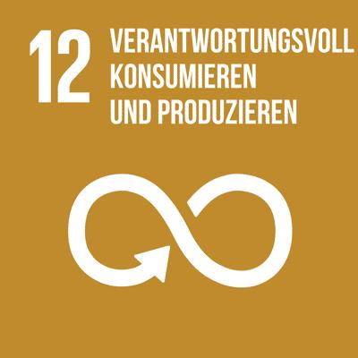 UN-Nachhaltigkeitsziel 12 verantwortungsvoll konsumieren und produzieren.