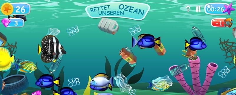 Spielend Plastikmüll im Meer beseitigen