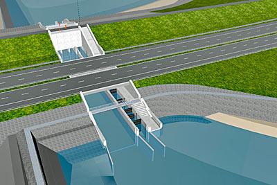 Animation: Der Fischmigrationsfluss führt unter dem Deich durch.
