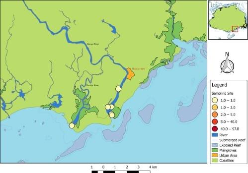 Karte des Mündungsbgebiets der Navua auf Fidschi.