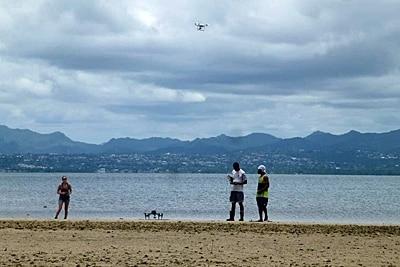 Start der Forschungsdrohnen auf Fidschi.