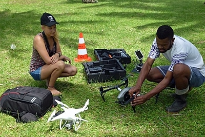 Vorbereitung der Drohnen.