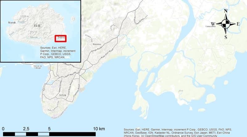 Karte Rewa Delta auf Fidschi