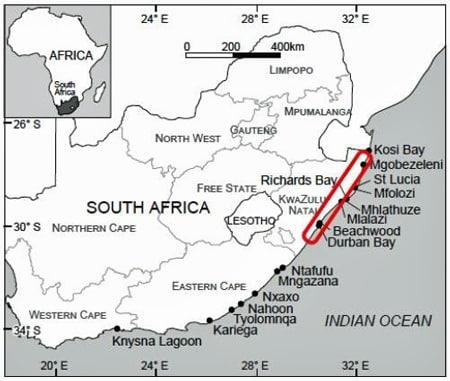 Karte Forschungsprojekt Niklas Reinhardt Schnecken und Mangroven Südafrika.