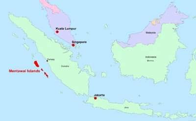 Karte Mentawai-Archipel vor West-Sumatra.