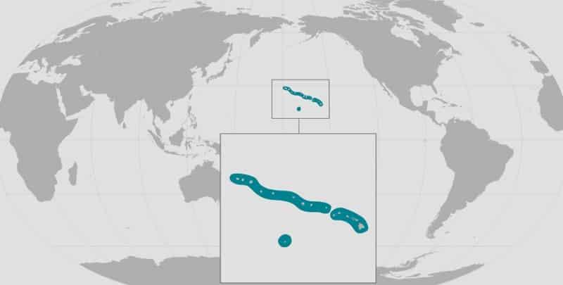 Weltkarte Verbreitung der Hawaii-Mönchsrobbe. Von NOAA-Fisheries