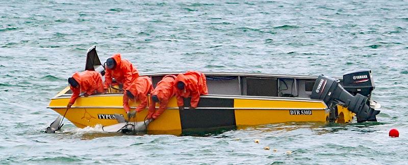Ein toter Bleifarbener Delfin wird von vier Männern von einem Boot aus aus dem Hainetz net99 geborgen.