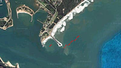 Position der Hainetze vor Richards Bay.