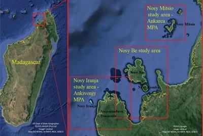 Karte des Untersuchungsgebiets vor der Nordwestküste von Madagaskar.