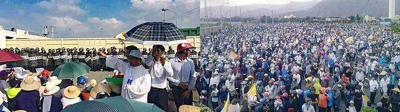 Demonstration vor dem Formosa Stahlwerk in Vietnam.