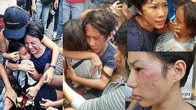 Polizeigewalt gegen Demonstranten in Vietnam.