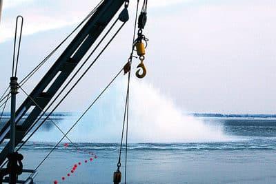 Sprengung einer Seemine vor Heidkate in der Ostsee. Foto: S.Koschinski