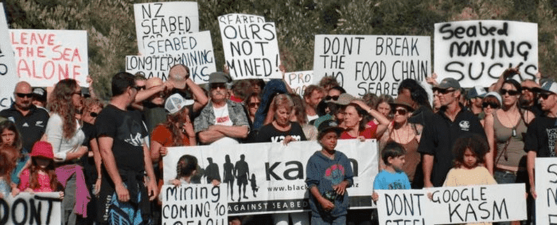 Northern Territory verbietet Tiefseebergbau: Protest gegen Tiefseebergbau von Kiwis Against Seabed Mining, Neuseeland.